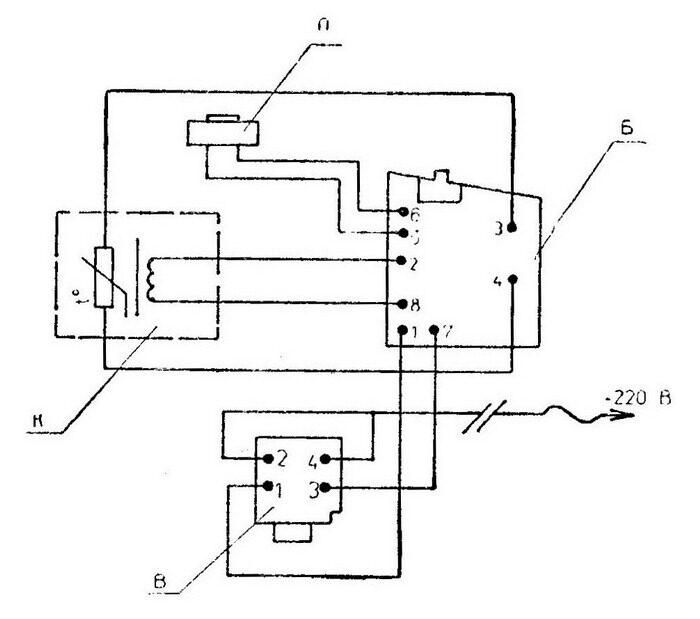 Схема электрическая принципиальная машины электрической ударной МЭУ-125 В - выключатель ВК-36-19-20180-40, Б...